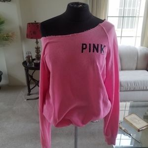 PINK off the shoulder oversized sweatshirt Small